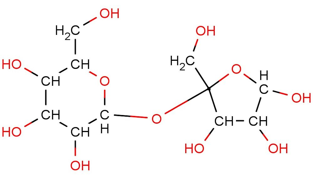 sucrose structure glucose on left fructose on right