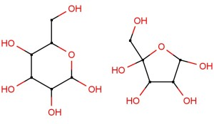 Sucrose split into glucose (left) and fructose (right).