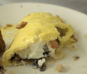 Omelet cut open