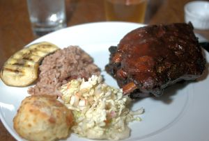 Smoked Wet Sauced barbecued ribs