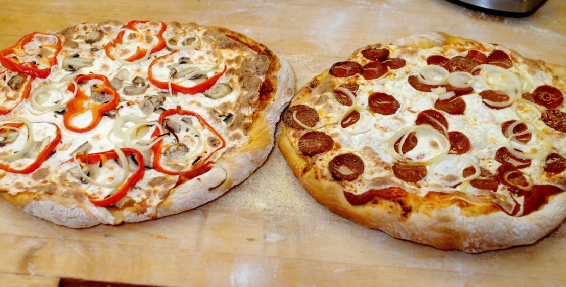 two pizzas