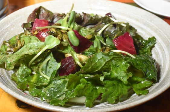 Beets with bitter greens