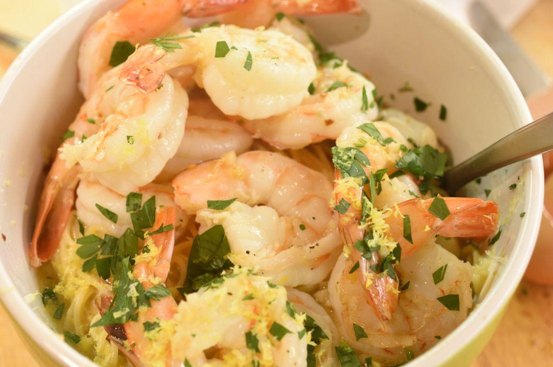 Shrimp scampi carbonara
