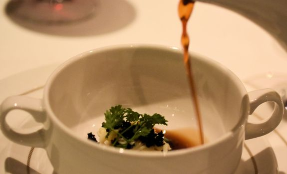 pouring consomme