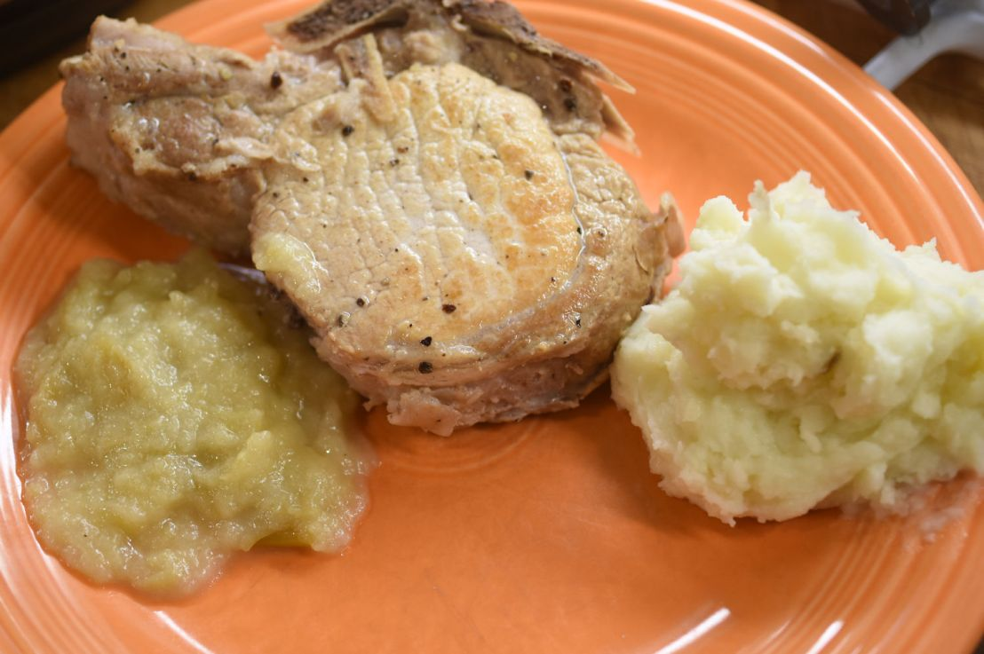 Pork chops and applesauce in an Instant Pot
