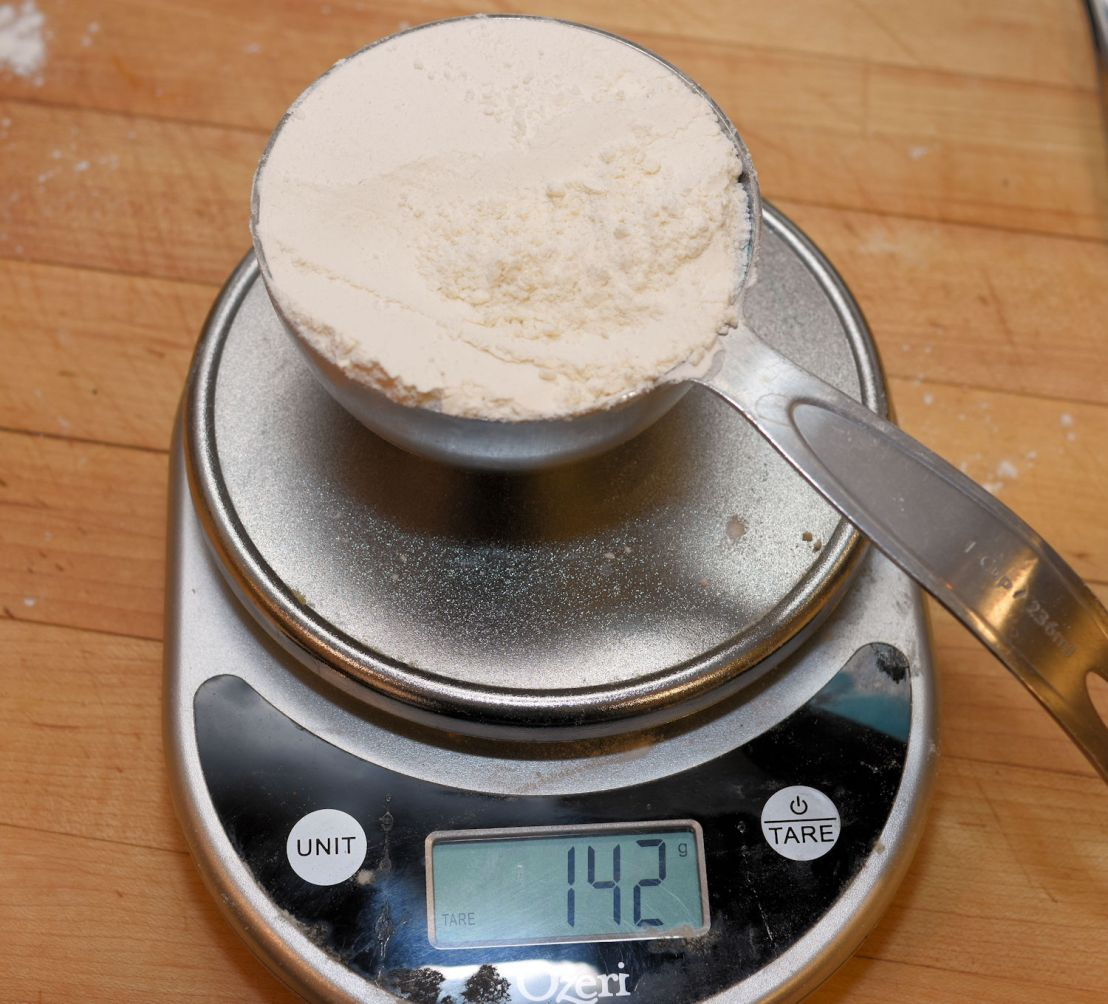 Sifting and measuring flour